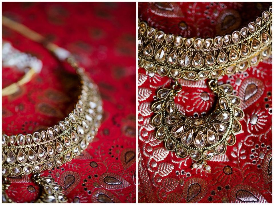 gold necklace and headpiece for indian bride