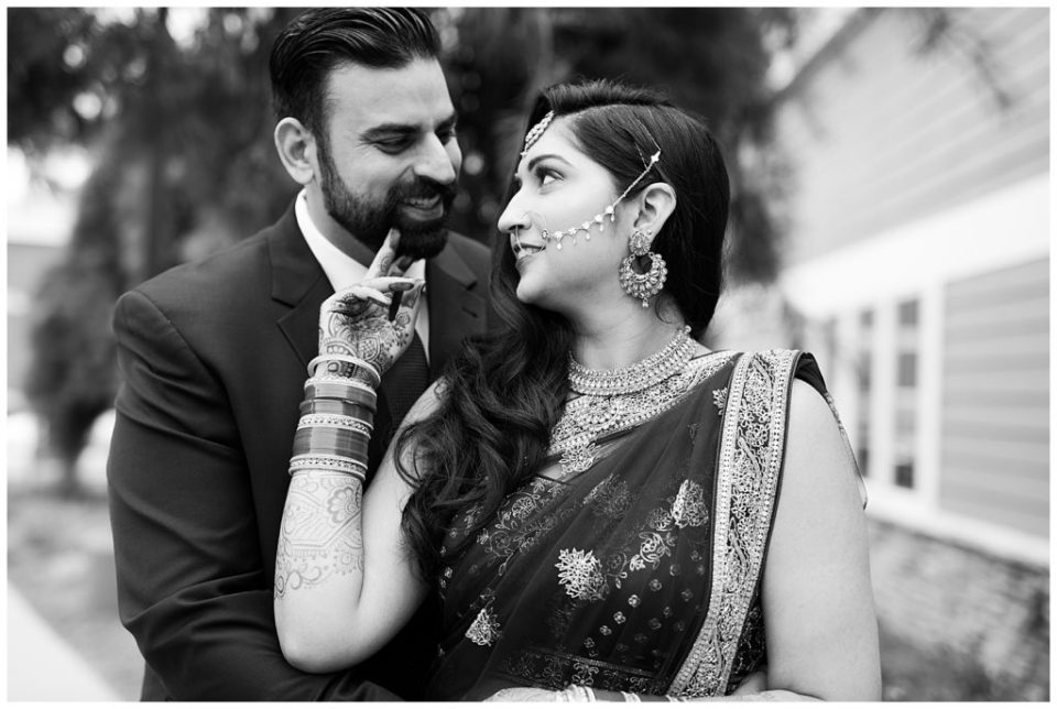 black and white image of indian bride and groom at bertram inn