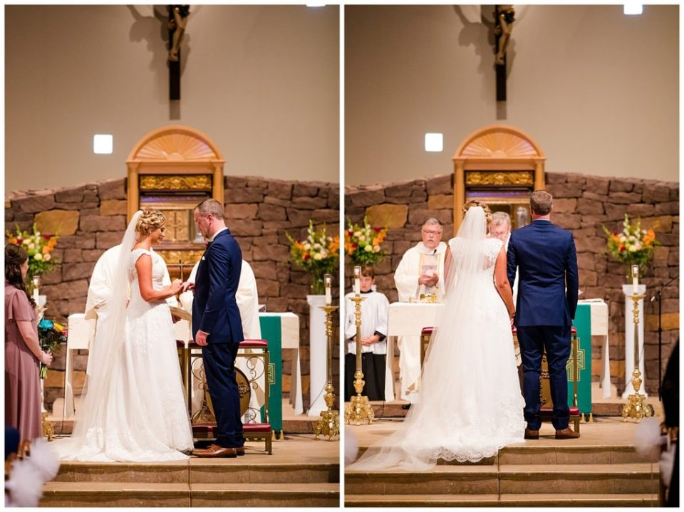 A picture of the bride and groom exchanging rings during the wedding, and a view of the bride and groom standing as the officiant finishes the proceedings at the ceremony  by Alayna Parker  - Columbus  wedding photographer