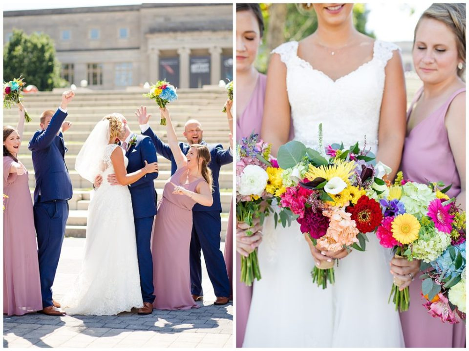 A photograph of the bride and groom kissing while the wedding party cheers them on, and a closeup view of the bride's and bridesmaids' bouquets at COSI in Columbus by Alayna Parker Photography  - Columbus OH wedding photographers