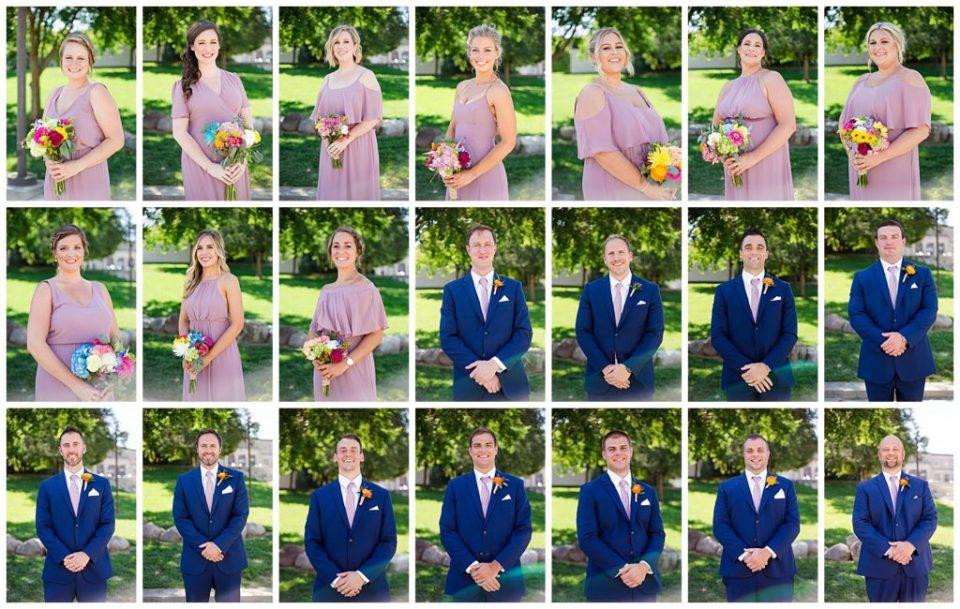 individual portraits of each bridesmaid and each groomsman