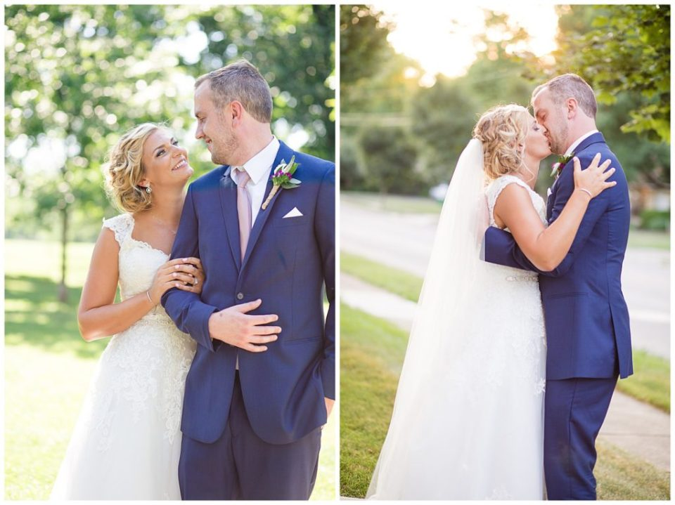 bride and groom kissing during golden hour
