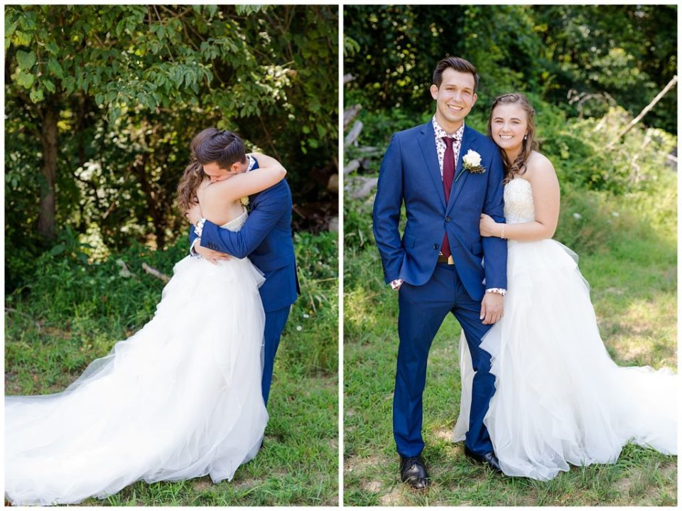 An image of the bride and groom embracing during their first look, and smiling together afterwards at the Cedar Grove Lodge venue in Hocking Hills, Ohio by Columbus Ohio wedding photographer, Alayna Parker Photography