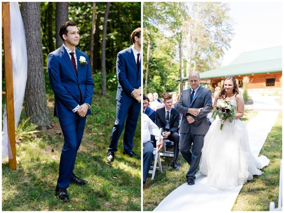 A picture of the groom emotionally standing by the wedding arch as the bride approaches down the aisle, and a view of the bride walking down the aisle with her father at the Cedar Grove Lodge venue in Hocking Hills, Ohio by Columbus  wedding photographer, Alayna Parker Photography