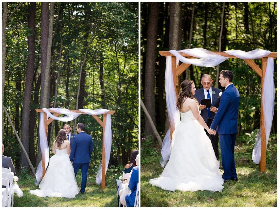 A photograph of the bride and groom standing at the wedding ceremony while the officiant speaks, and a view of them holding hands as the vows are repeated at the Cedar Grove Lodge venue in Hocking Hills, Ohio by Columbus OH wedding photographer, Alayna Parker Photography