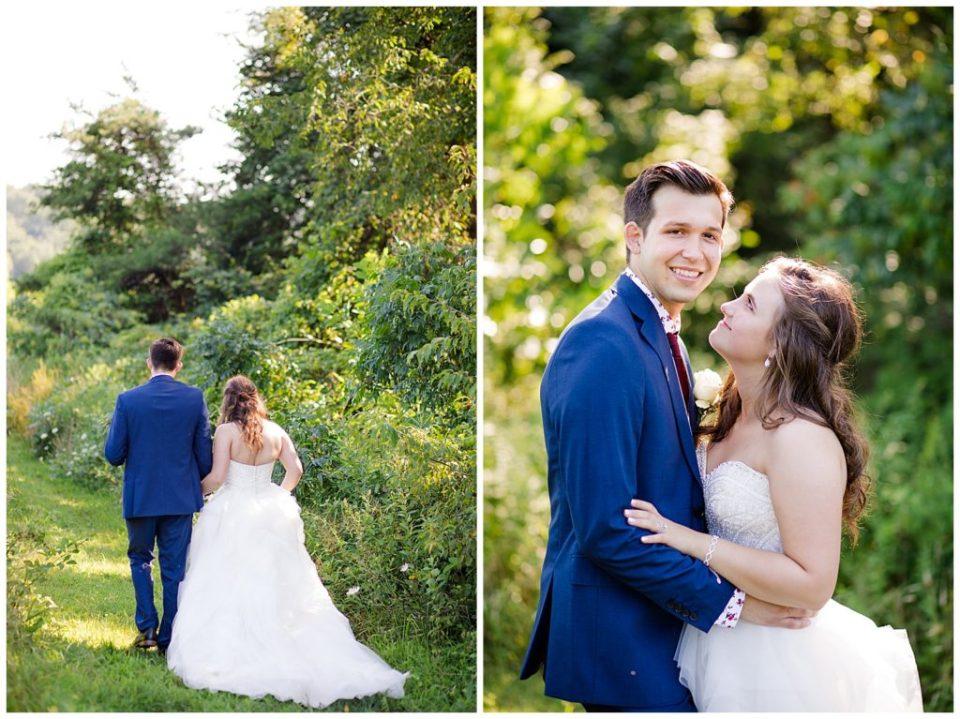 bride and groom walking along path at cedar grove lodge