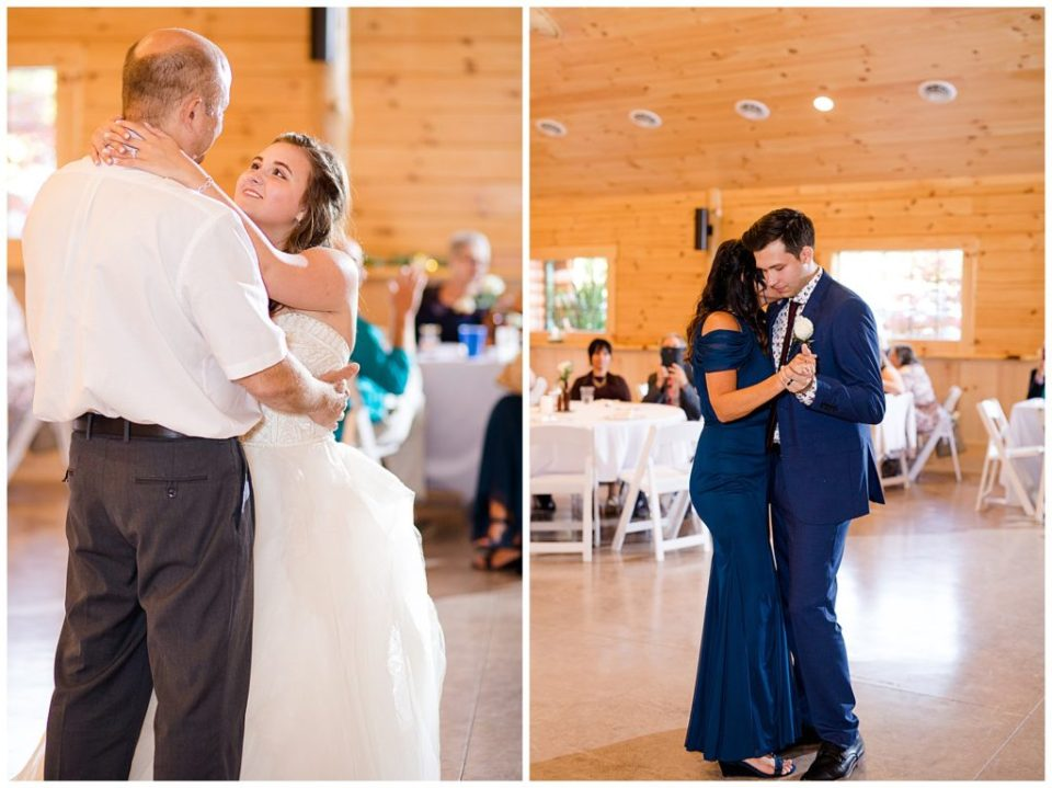 bride dancing with her dad and groom dancing with his mom at cedar grove lodge