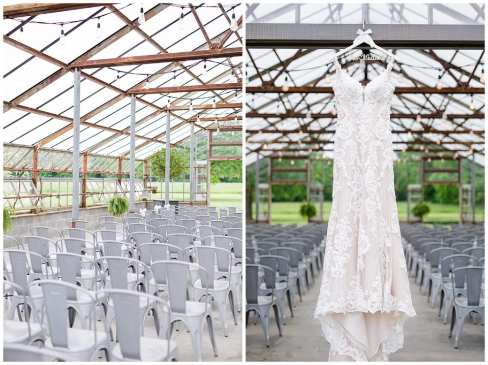lace wedding dress hanging in greenhouse at jorgensen farms oak grove