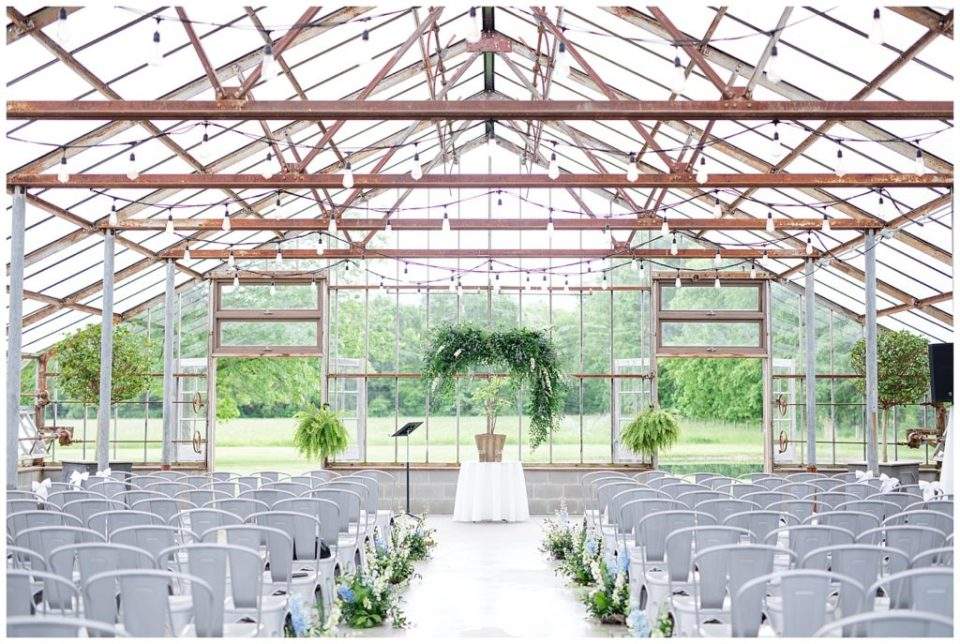 green house ceremony setup at jorgensen farms oak grove