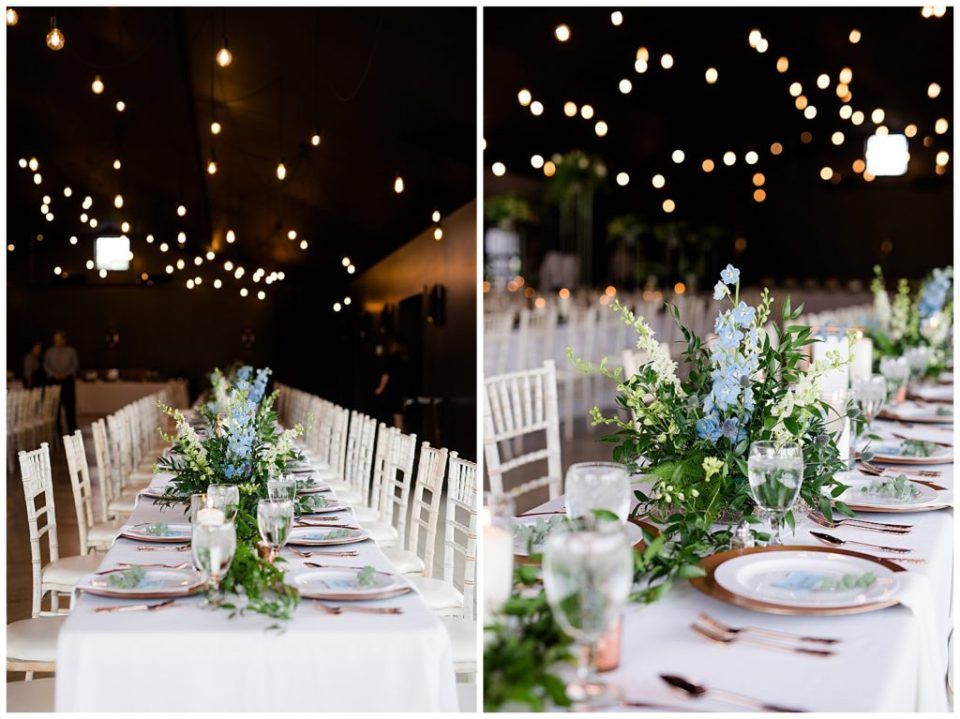 garland and floral centerpieces on long tables at jorgensen farms oak grove