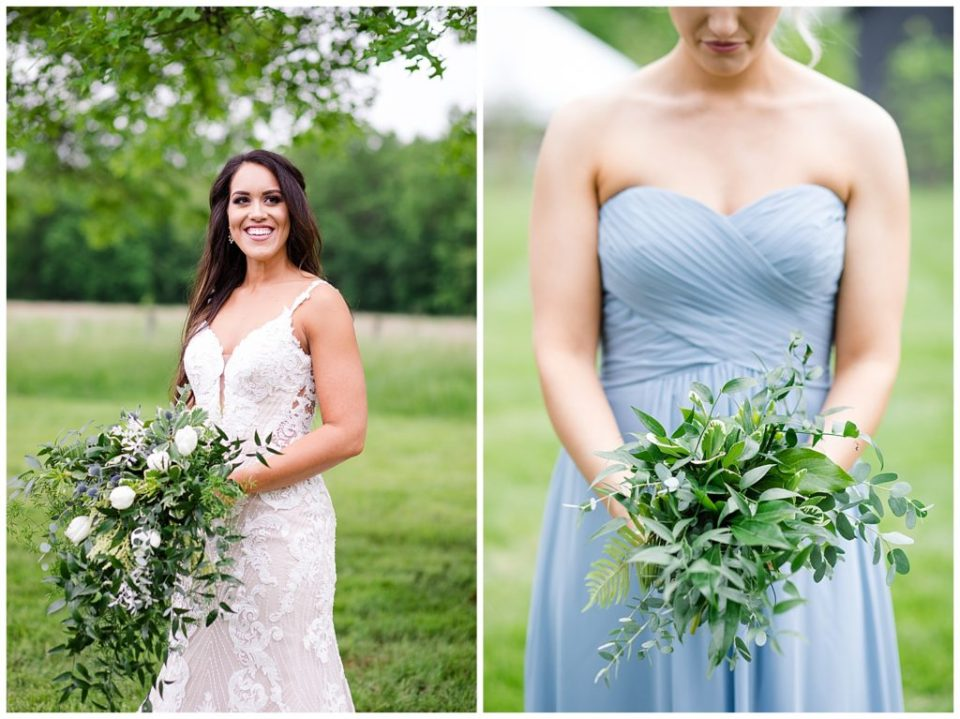 A photograph of the bride smiling with her bouquet, and a view of a bridesmaid with her bouquets at the Oak Grove wedding venue by Columbus OH wedding photographer, Alayna Parker Photography