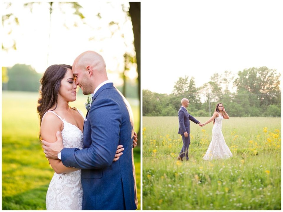 bride and groom closing eyes and touching foreheads during golden hour at jorgensen farms oak grove