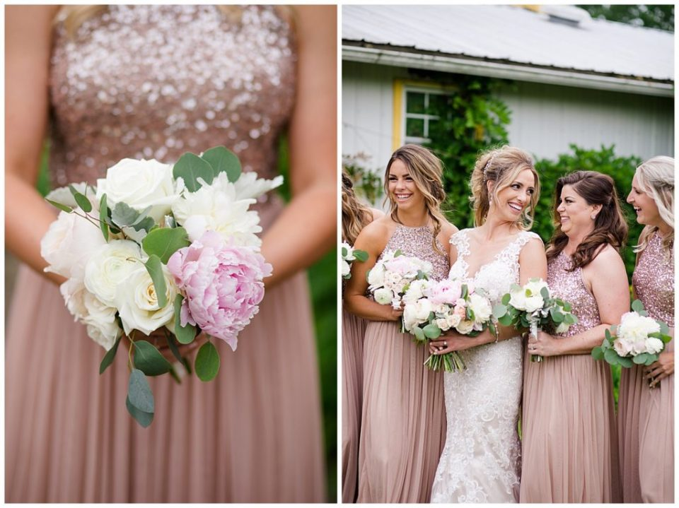 A photograph of a closeup view of a bride's bouquet, and a view of the bride and bridesmaids smiling together with their bouquets at Jorgensen Farms wedding venue by Alayna Parker  - Columbus OH wedding photography