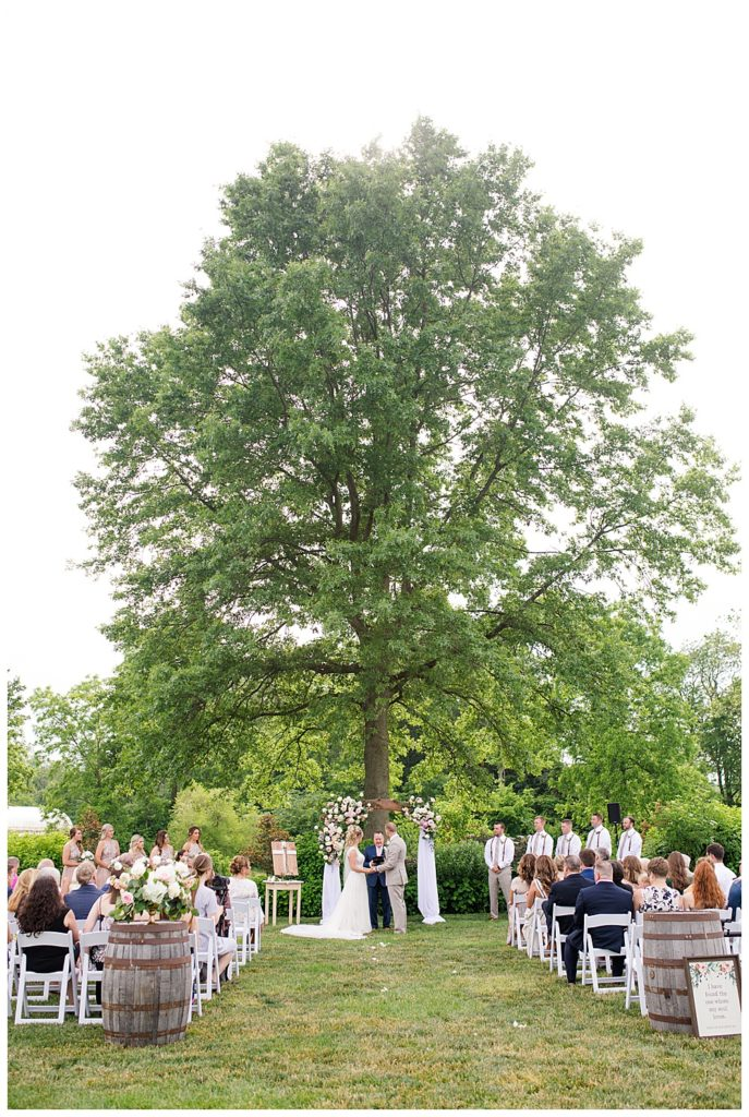 An image of a long-range view of a bride and groom standing and holding hands at their wedding ceremony outdoors as the officiant speaks and the wedding party and guests look on at Jorgensen Farms wedding venue by Alayna Parker Photography  - Columbus Ohio rustic wedding photographers