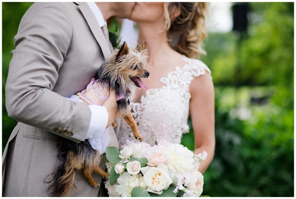 An image of a closeup view of the bride and groom kissing as they hold their dear pet dog at Jorgensen Farms wedding venue by Alayna Parker Photography  - Columbus Ohio wedding photography