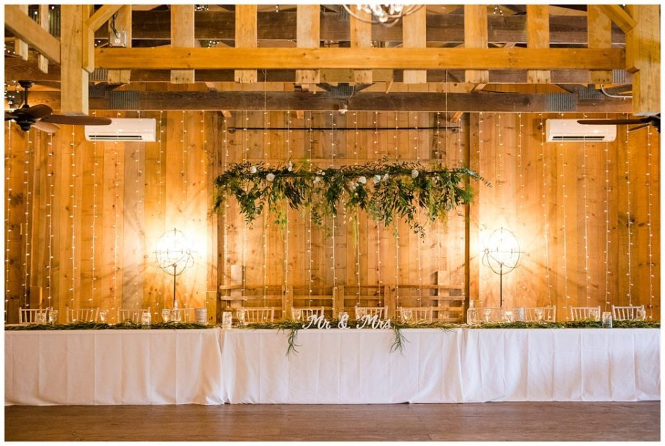 A picture of the wedding party's reception table with beautiful lights and decorations in a rustic setting at Jorgensen Farms wedding venue by Alayna Parker Photography  - Columbus  rustic wedding photographers