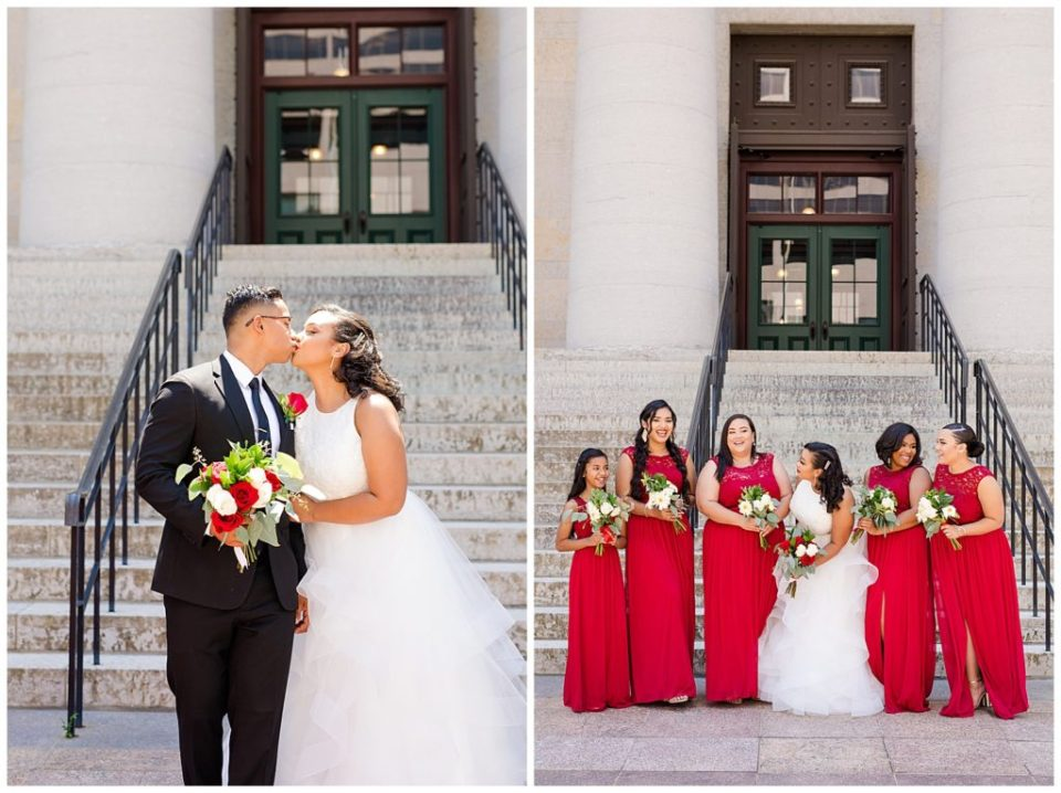 bride and groom kiss in front of steps at ohio statehouse