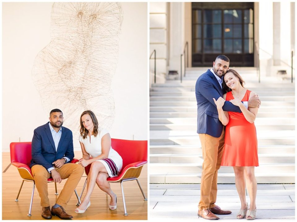 An image of an engaged couple pausing as they sit in an art museum, and a view of them standing outside, holding each other and smiling happily at the Columbus Museum of Art by Alayna Parker Photography Columbus Ohio engagement photographer