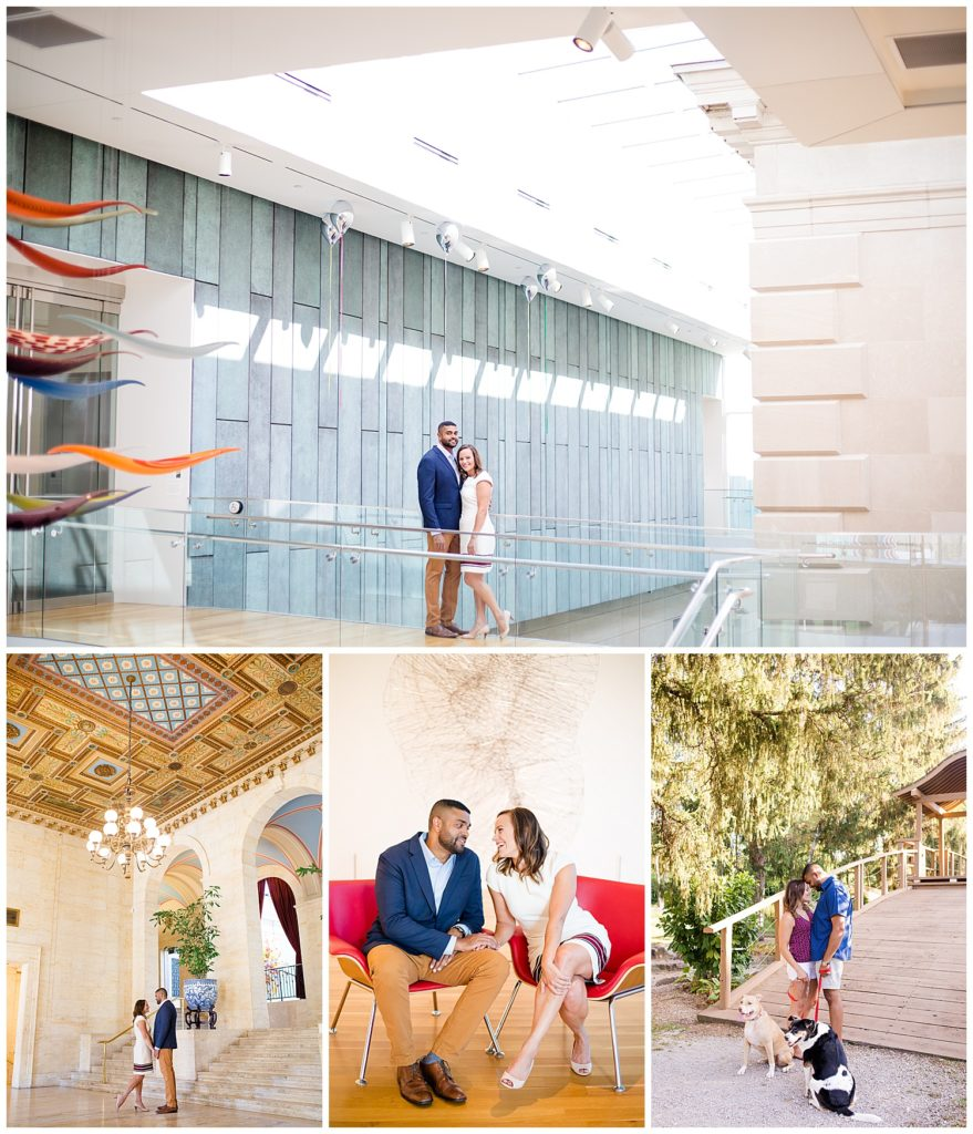 Collage of images from an engagement photo shoot in Columbus Ohio at both the Museum of Art and Franklin Conservatory by Alayna parker Photographer, a Columbus engagement photographer