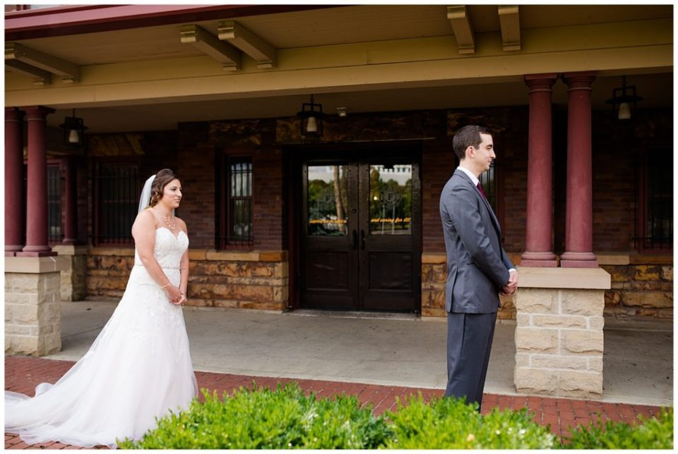 bride and groom about to see each other for first time at station 67