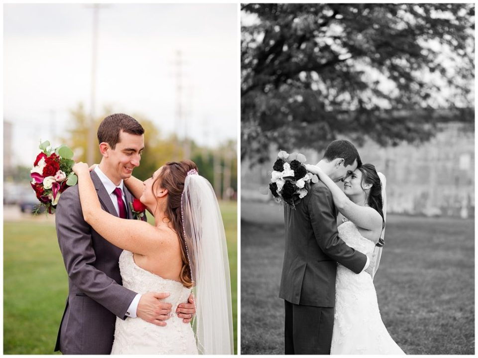 An image of the bride and groom holding each other close and smiling, both in color and black and white at a Station 67 Columbus  wedding by Alayna Parker Photography