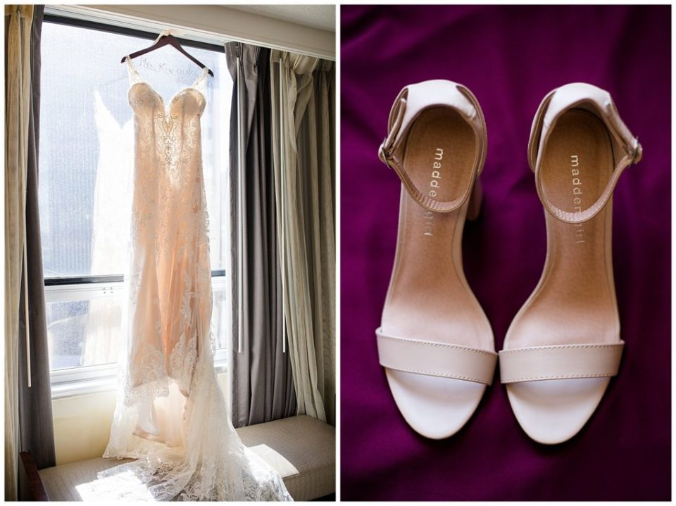 A picture of a bride's wedding gown hanging in front of a window and her shoes nearby ready to put on for the wedding by Columbus  wedding photographer, Alayna Parker Photography