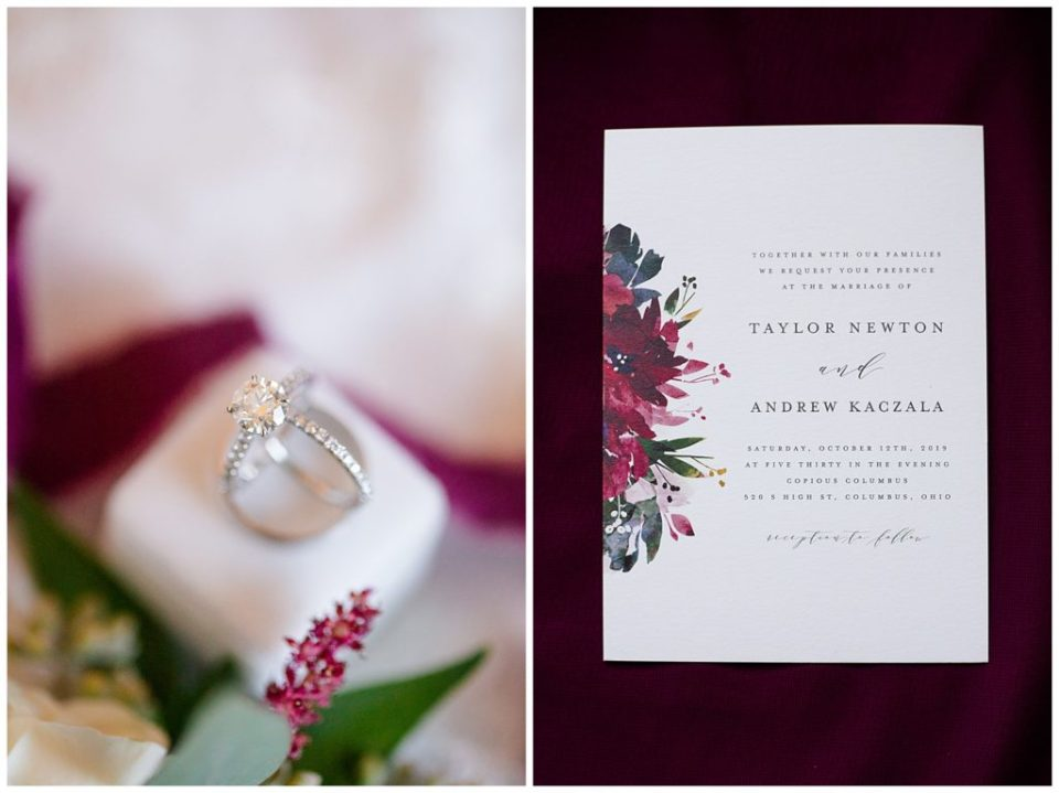 A picture of a closeup detailed view of the bride's wedding rings and wedding invitation by Columbus  wedding photographer, Alayna Parker Photography