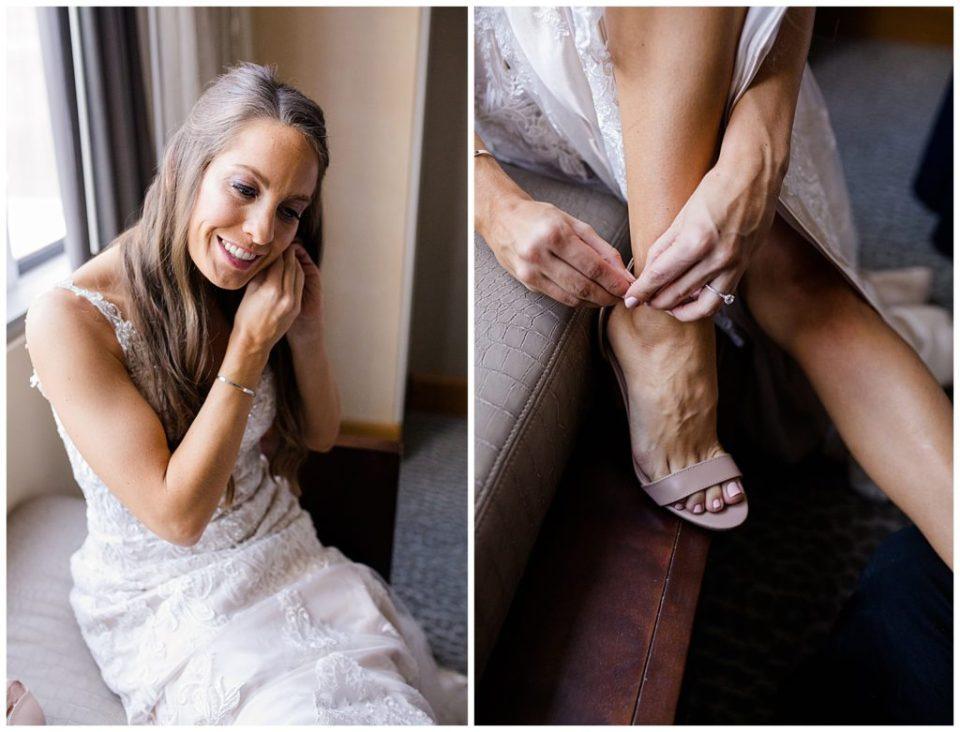 bride buckling shoes at renaissance hotel