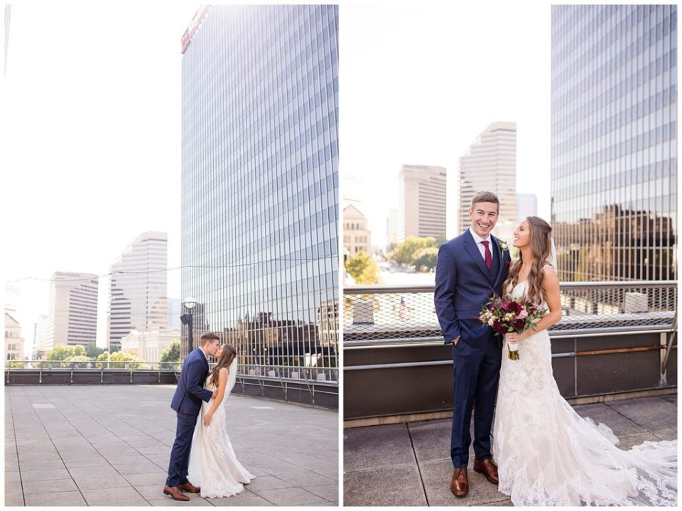 groom laughing at camera while bride looks at groom on rooftop at renaissance hotel