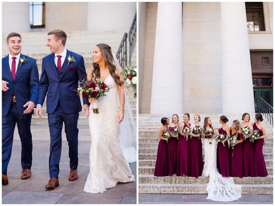 bridesmaids laughing at each other outside ohio statehouse