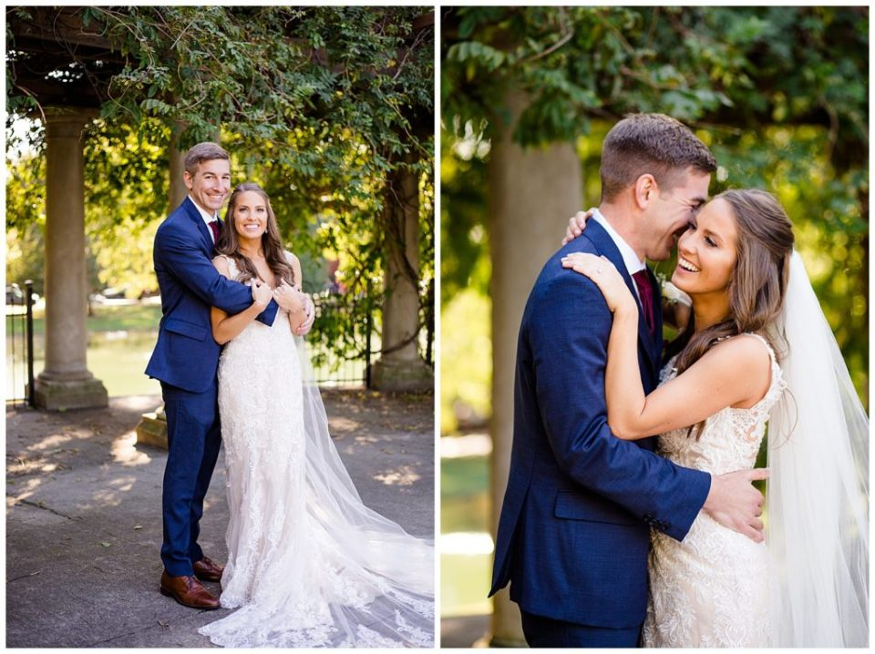 bride laughing while groom nuzzles into her at schiller park in german village