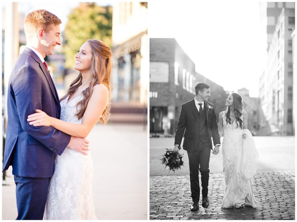 black and white image of bride and groom walking in alley in downtown columbus