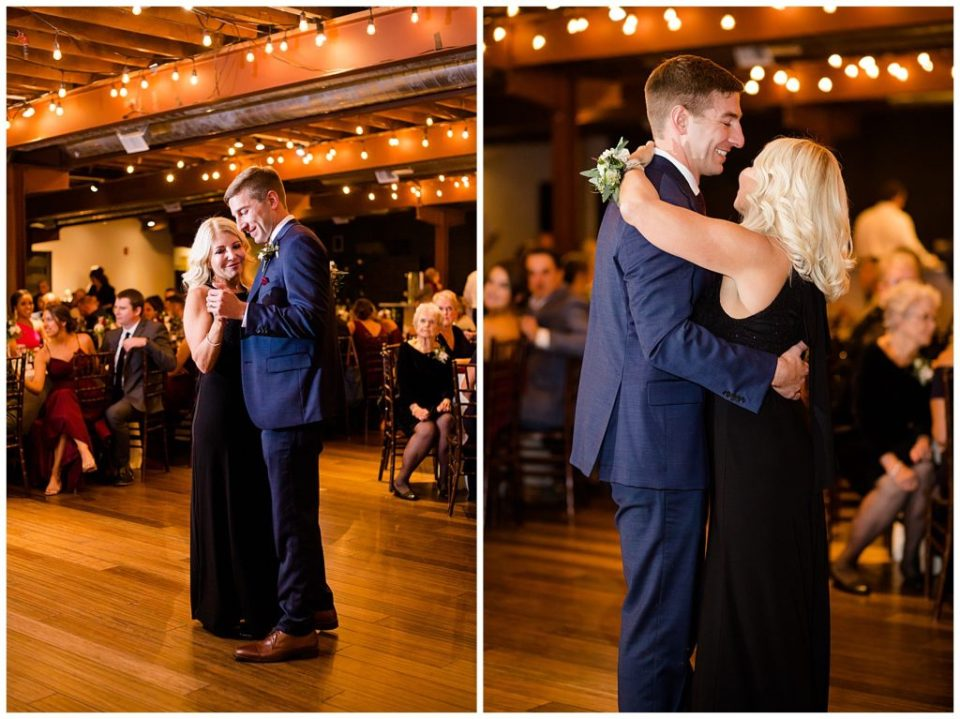 mother and groom share dance at copius