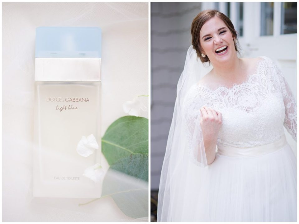 A picture of the bride's perfume and a view of the bride relaxed and laughing in her gown and veil at a Nationwide Hotel and Conference Center wedding by Columbus  wedding photographer, Alayna Parker Photography