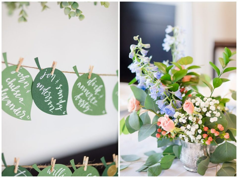 An image of cute seating tags to assigned seats at the wedding reception, and a closeup of a beautiful flower centerpiece at a Nationwide Conference Center wedding by Columbus Ohio wedding photographer, Alayna Parker Photography