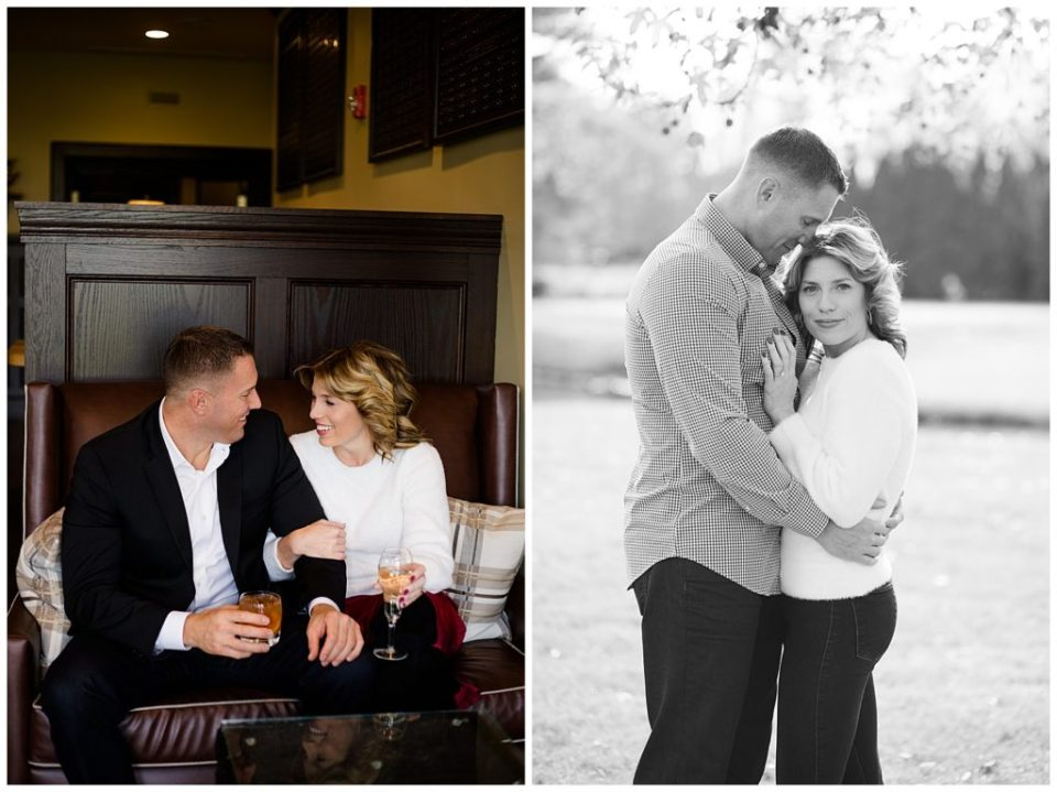 An image of an engaged couple sitting and talking in a classy, relaxed setting, and a view of the couple holding each other close at Brookside Golf & Country Club by Columbus Ohio engagement photographer, Alayna Parker Photography