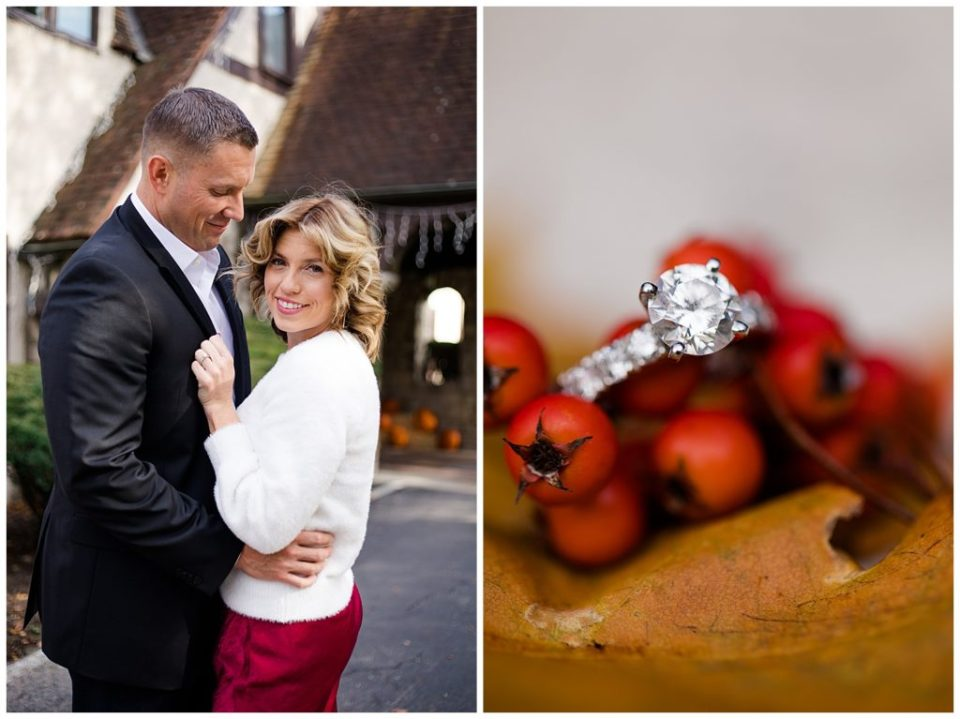 A photograph of an engaged couple holding each other close and smiling, also a closeup view of the engagement ring sitting on beautiful fall berries at Brookside Golf & Country Club by Columbus OH engagement photographer, Alayna Parker Photography