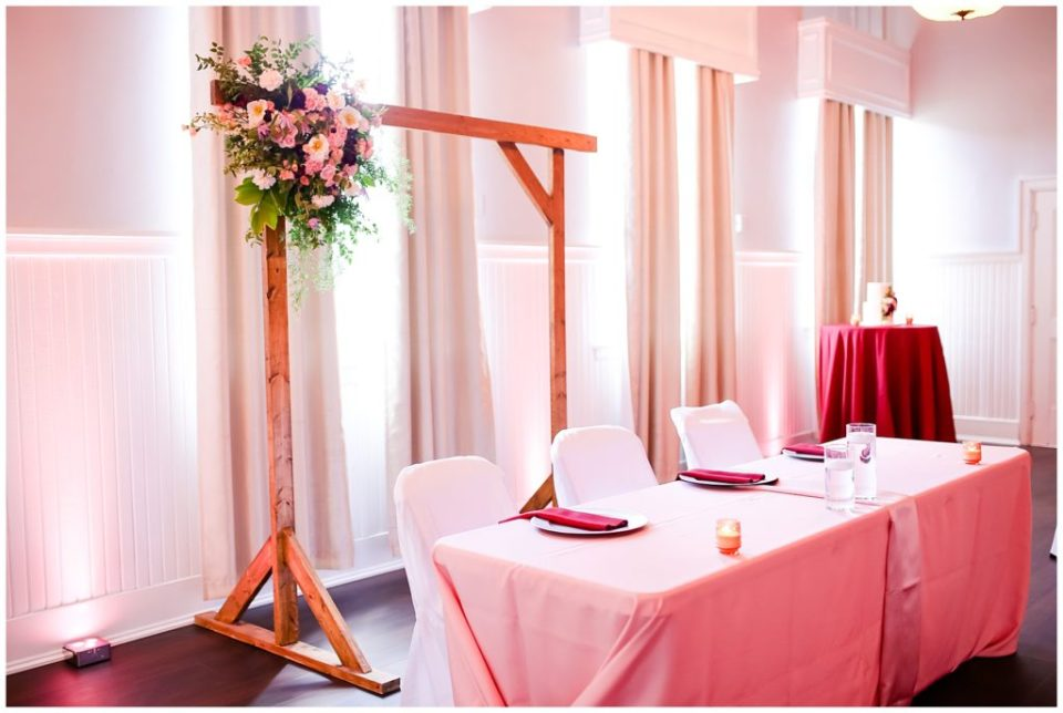 wedding reception with pink uplighting at the postmark
