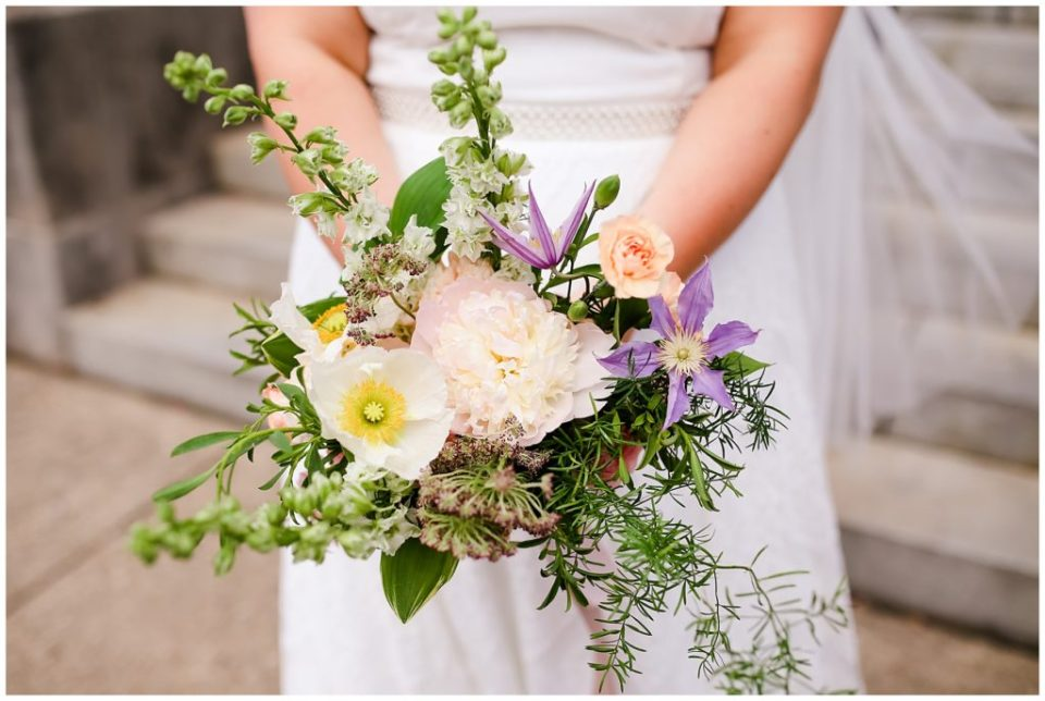 unstructured bridal bouquet with greenery