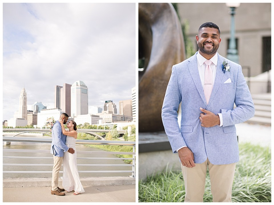 An image of the bride and groom tenderly embracing as they stand on a bridge with a river and the city skyline in the background by Alayna Parker - Columbus Ohio wedding photographer
