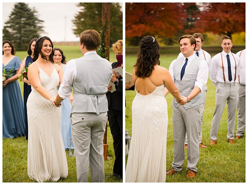 A photograph viewing the bride from behind the groom as they hold hands during the wedding ceremony and a view of the groom with the groomsmen behind him