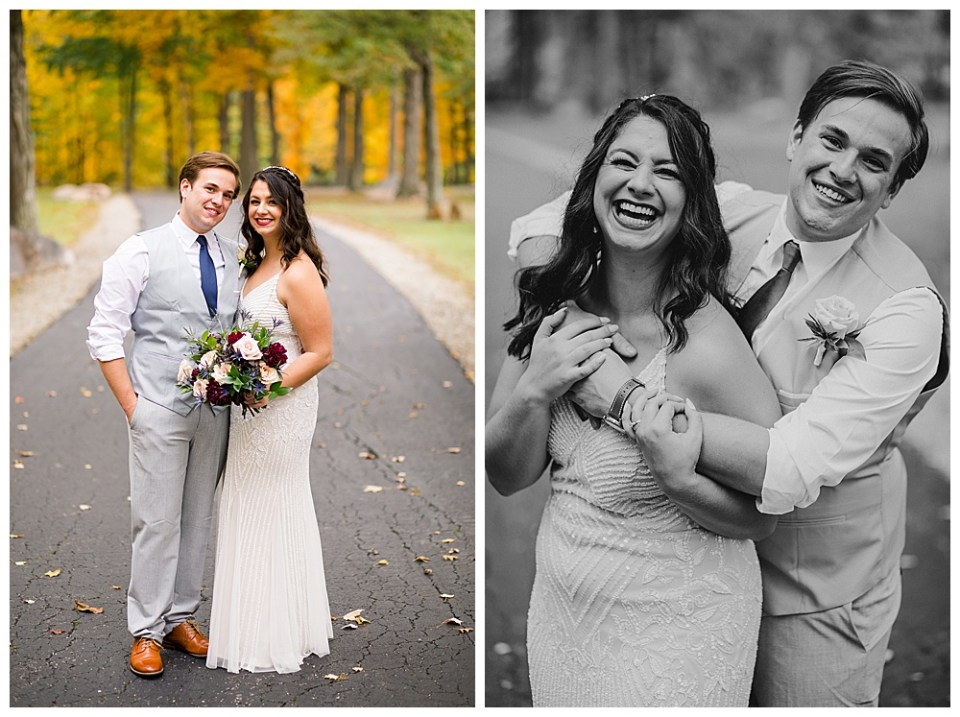 An image of the bride and groom standing close, smiling in their beautiful wedding outfits and a photo of the bridal couple hugging and laughing together on their wedding day by Alayna Parker Photography a Columbus Ohio wedding photographer