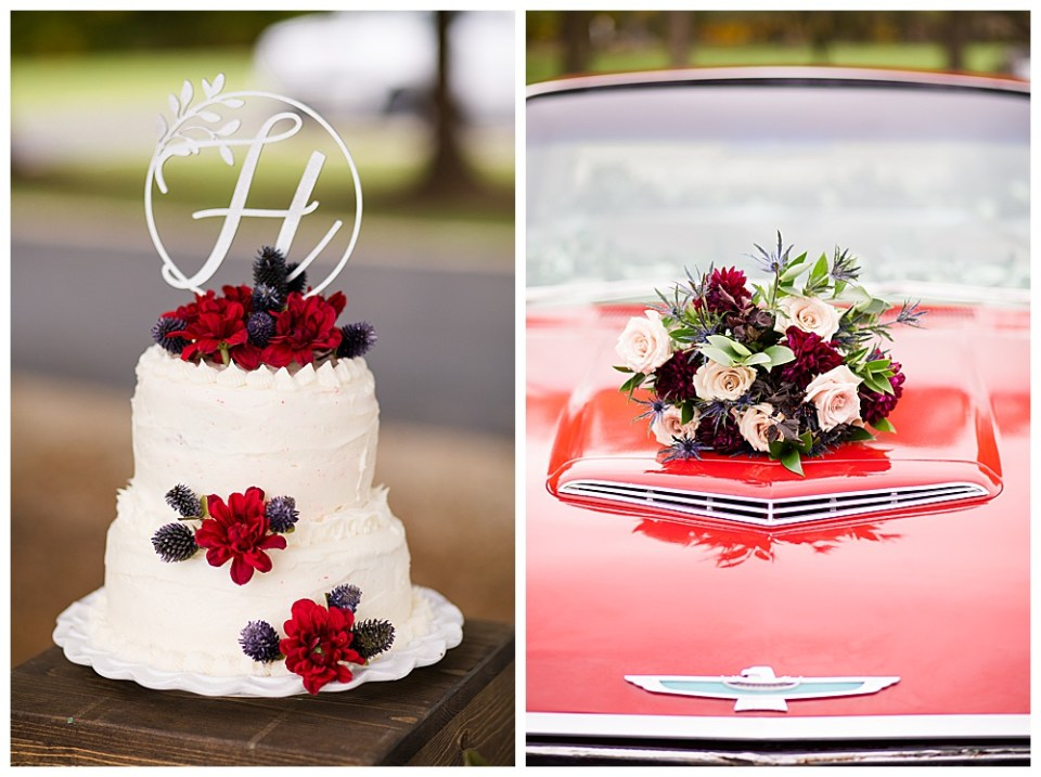 A photograph up close of the lovely wedding cake with the topper and fresh flowers and a view of the bride's bouquet resting on the hood of a shiny vintage car, ready to depart for the bridal getaway