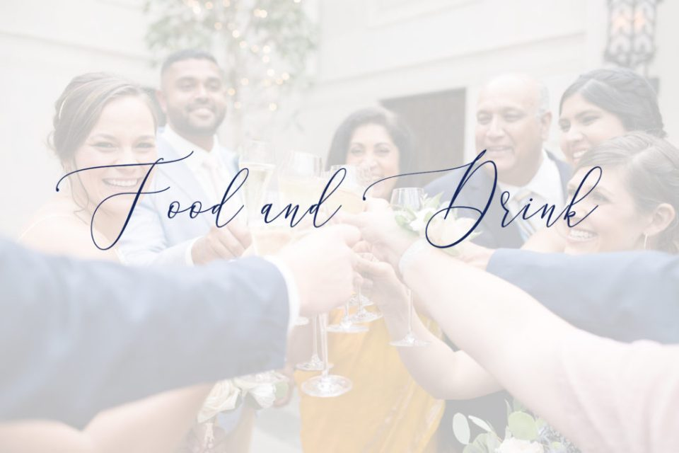 heading for the food and drink questions to ask your wedding venue with wedding party in background