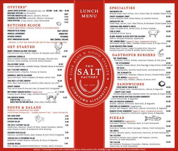 Salt Factory Lunch Menu Alpharetta GA