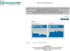 Cincinnati Bell Telephone Speed Test on 2017-01-21
