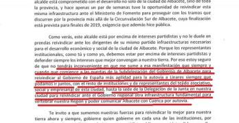 La carta del alcalde de Albacete al delegado de la Junta pidiendo que reivindique la autovía hacia Cuenca