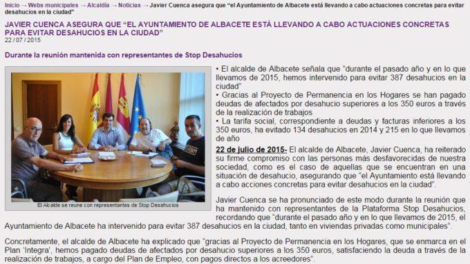 captura nota de prensa del ayuntamiento