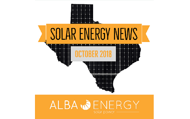 Texas Solar Energy News – October Edition