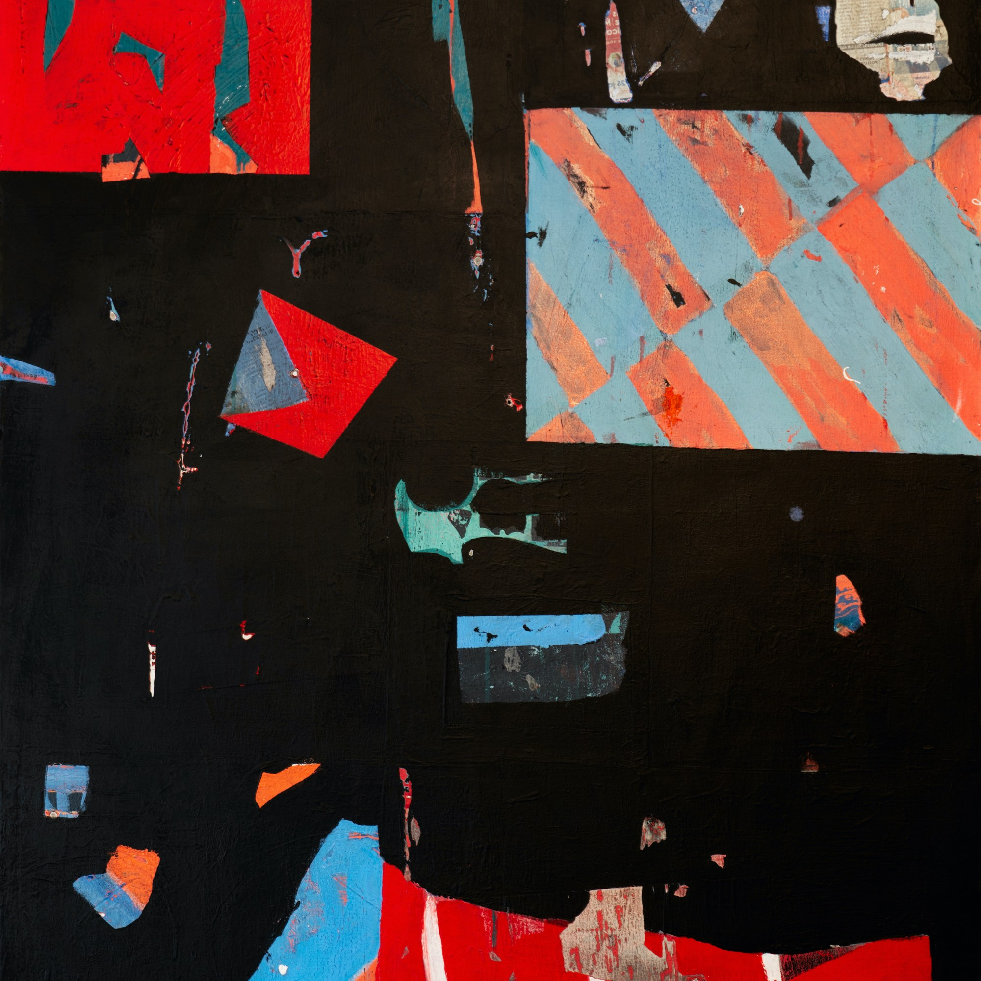 tableau abstrait abstract painting Acrylique et collage sur toile Acrylic and collage on canvas